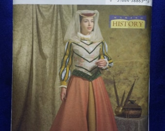 Sewing Pattern Butterick 4375 Medieval Renaissance 3 Piece Dress Gown Cindy Chock Making History Sizes 6-12 Uncut Unused Costume Ships Free