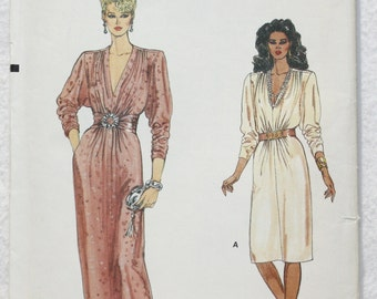 """Sz 8-10-12 Early 80s Dynasty Style Dress for Day or Evening  Very Easy Vogue Sewing Pattern 8711 Bust 32.5"""""""
