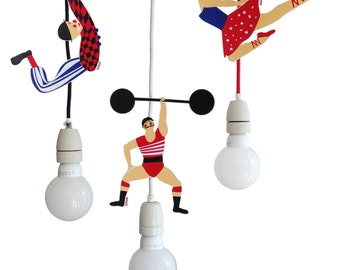 Cable Artists - Set of 3 - strong man, tightrope artist, clown - nursery decoration - Etsy Design Awards winner
