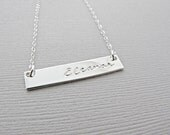 Bar Necklace, Silver Bar Necklace, Stamped Necklace, Monogram Necklace, Nameplate Necklace, Engraved Necklace, Sterling Silver Jewelry