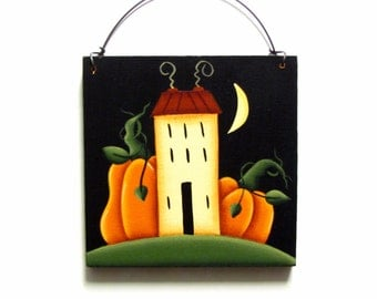 Prim Saltbox and Pumpkins Sign, Handpainted Wood Wall Hanging, Hand Painted Fall Home Decor Wall Art, Tole Decorative Painting