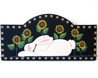 Primitive Bunny with Sunflowers Arched Sign, Handpainted Wood, Home Decor, Wall Art