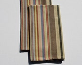 Earthtone Striped Handwoven Kitchen Towels from Guatemala set of 2, Brown striped