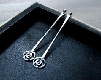 Rose earrings long silver dangles - Slim long earrings elegant women jewelry - One of a kind unique silver earrings for her
