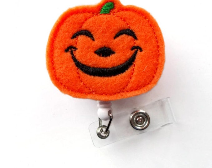 Happy Pumpkin - Unique ID Badge Reel - Halloween Badge Holder - Cute Badge Reel - Nurse Badge Holder - Nursing Badge Clip - Felt Badge