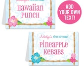 INSTANT DOWNLOAD Luau Party Buffet Cards - EDITABLE Printable File