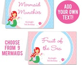 INSTANT DOWNLOAD Mermaid Party Buffet Cards - EDITABLE Printable File - Choose from 9 Mermaids