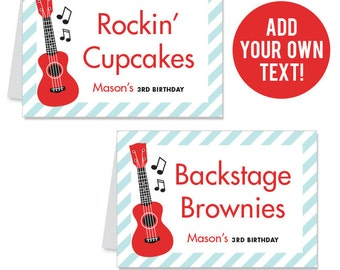 INSTANT DOWNLOAD Rock Star Party Buffet Cards - EDITABLE Printable File