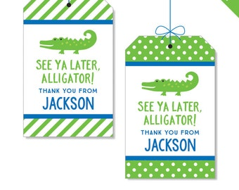 Alligator Party - Personalized DIY printable favor tags