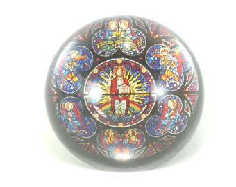 Glass Paperweight Religious Vintage  Office Decor