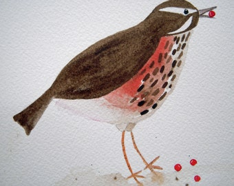 Redwing, original bird watercolor,brown and red, small art, bird and berries, simple, children's, nursery art, whimsical