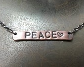 Peace Hand Stamped Bar Necklace