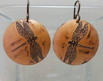 Etched Copper Dragonfly Earrings