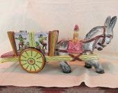 "LARGE 15"" Vintage Italian Pottery Mid Century Donkey w/Cart ~ Majolica Donkey Planter ~ Signed on Bottom ~ Ceramic Donkey Cart from Italy ~"
