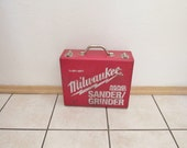 Awesome Vintage Chippy Red Painted Metal MILWAUKEE Tool Box ~ Briefcase Style w/Silver Metal Handle ~ Industrial Decor Prop ~ Garage Decor ~