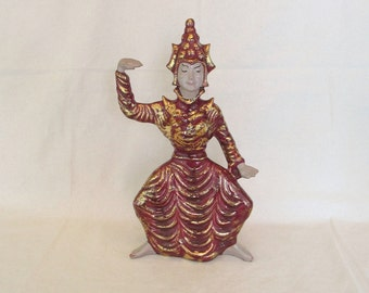 Beautiful Tall Vintage Siam Balinese Dancer Gilner Style Pottery Figurine Statue in Maroon and Gold ~ Not Marked ~