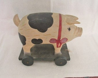 "Cute Vintage 8"" Handmade Primitive Wood Handpainted PIG on WHEELS ~ Hole for Rope to Use as Pull Toy ~ Shelf Sitter, Primitive Kitchen Decor"