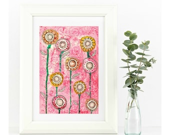Giclee Art Print - Flowers / Mixed Media Print