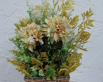 Beige Flowers Tall Floral Arrangement, Pear's of Three, Silk Flowers Centerpiece, Yellow Artificial Flowers, Floral Gift Designs