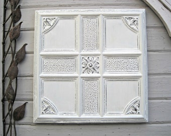 Tin Ceiling Tile.  ANTIQUE Architectural salvage.  FRAMED 2'x2' Tile. Metal Wall decor. 10th Tin Anniversary. White Rustic decor.