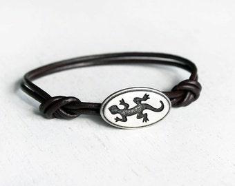 Gecko Leather Bracelet, Lizard Bracelet, Reptile Bracelet, (many colors to choose)