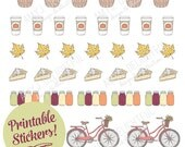Printable FALL in the Country stickers! - Digital File Instant Download- planner stickers, embellishment, bicycle, pumpkin spice latte