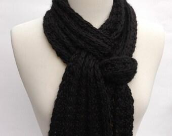 Alpaca Scarf- Hand Knit/ Black