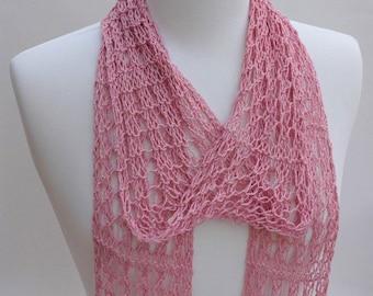 Cotton & Hemp Scarf- Hand Knit/ Dusty Rose/ Rose