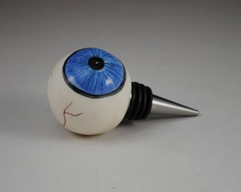 Blue Ceramic Eyeball Wine Stopper for Bottle with Heavy Duty Metal Bottom Eyes