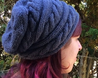 Cabled Slouchy Hat Knitting Pattern Pack: 2 Instant Downloads