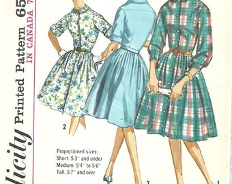 Simplicity 5232 / Vintage 60s Sewing Pattern / Proportioned Fit / Shirtwaist Dress / Size 16 Bust 36