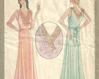McCall 1839 / Vintage 1930s Sewing Pattern And Transfer / Gown Nightgown Negligee Peignoir Lingerie / Size Medium / Bust 36 To 38