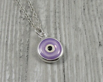 Purple Evil Eye Necklace, Silver and Purple Evil Eye Charm on a Silver Cable Chain