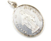 Large Vintage Sterling Silver Miraculous Medal - French Congregation of the Children of Mary Catholic Charm - Our Lady of Grace - Q65