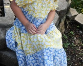 Little Girls Modest Blue and Yellow Daisy Spring Summer Easter Short Sleeve Tiered Peasant Dress Size 5