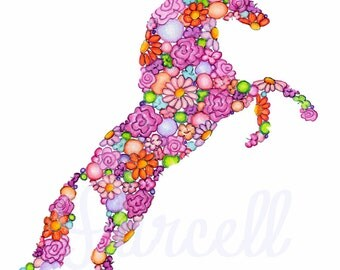 Lovely Colorful Horse - Floral Art Print - Equestrian Decor 8 x 10 in.