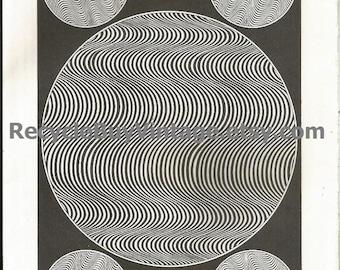vintage 1970's optic illusion pattern art print book plate black & white pop art design retro home decor mod geometric picture wall 87 88