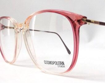 vintage 1980's NOS cosmopolitan round eyeglasses pink plastic frames metal arms prescription lenses eye glasses retro modern womens fashion