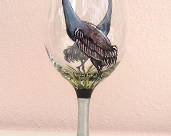 Sandhill Crane  Heron Egret Wine Glass Hand Painted Wine Goblet (Custom Order)