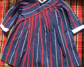 60s Classic Pleated Madeline Red, White, and Navy Blue School Girl Dress, Kid's Size 6