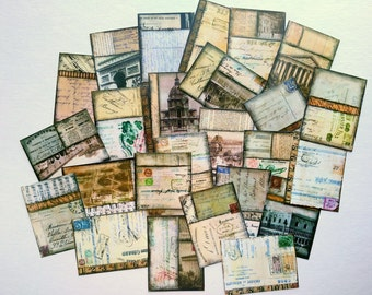 "25 Vintage Backgrounds Stickers, 1.5"" x 2"" (38x51mm), Vintage Ephemera Stickers, Vintage Collage Stickers, Recycled stickers, Sepia brown"