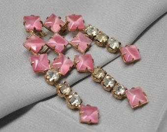 Vintage Pink Cat's Eye Stone Mid Century Brooch with Rhinestones