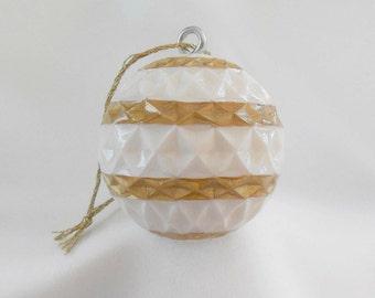 Easter Decor, Golf Gift, Carved Golf Ball, Golf Ornament, White Gold Christmas Ornament, Unique Golf Gift for Men or Women Golfer