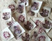 Tom Kitten Seals or Stickers  - 24 handpunched Beatrix Potter Tom Kitten stickers or seals - 1.5 inch -  3 different designs