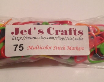 Pack of 75 Locking Stitch Markers for Crochet or Knitting. FREE USA SHIPPING