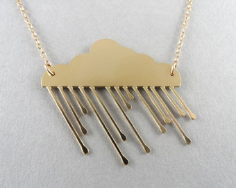 rain cloud necklace, cloud necklace, cloud jewelry, winter jewelry, rain cloud, gold cloud