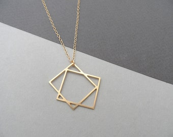 two squares necklace, geometric jewelry, square jewelry