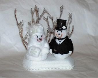Winter Wonderland Snow Bride and Groom Topper