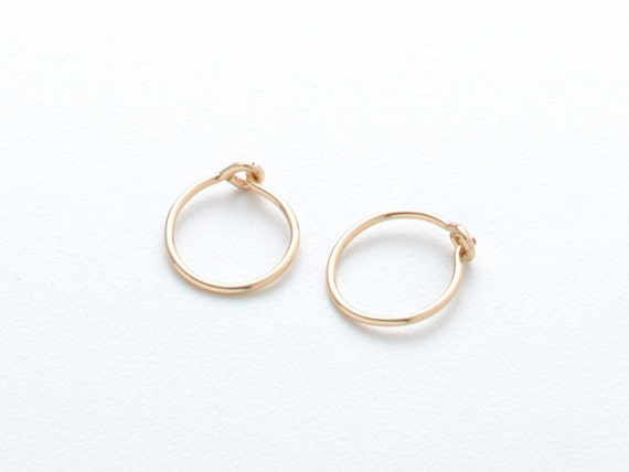 TINY GOLD HOOPS -- 14k gold filled - small hoop
