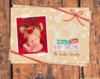 Photo Christmas Card, Christmas Photo Card, Printable Christmas Card, JOY Christmas Card 2-sided Personalized Christmas Card, Kraft Paper